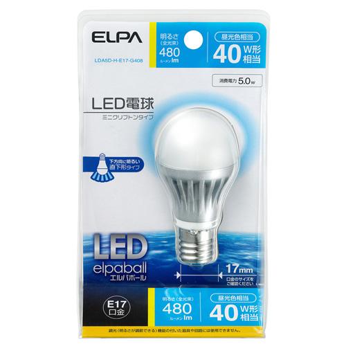【売切れ御免】朝日電器 LED電球 ミニクリプトン電球 40W形 E17口金 昼光色 LDA5D-H-E17-G408