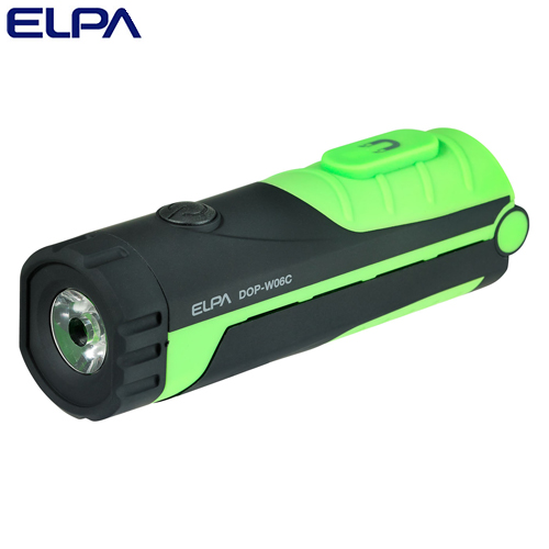 朝日電器 LEDライト LEDワークライト COB LED搭載 フック・マグネット付 ブラック/グリーン 白色LED DOP-WL06(G)
