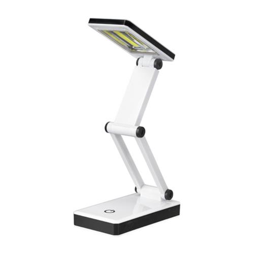 朝日電器 LEDライト LEDコンパクトデスクライト 折りたたんで持ち運べるライト 切替え3段階調光 2WAY電源 ホワイト AS-LC01(W)