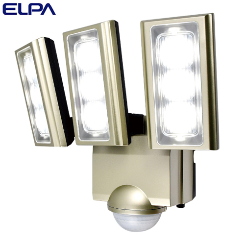 朝日電器 ELPA LEDセンサーライト 3灯 コンセント式 (AC電源) 屋外用 ESL-ST1203AC