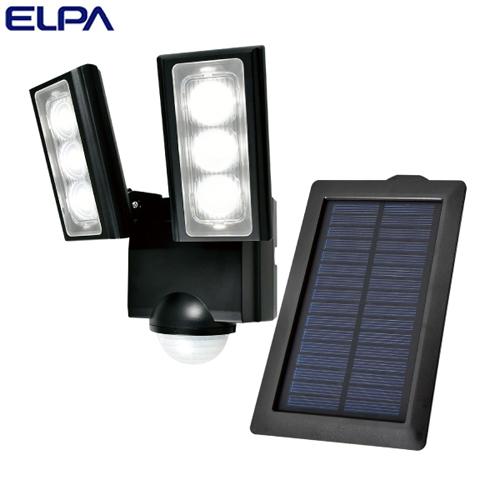 朝日電器 ELPA LEDセンサーライト 2灯 ソーラー発電式 屋外用 ESL-312SL