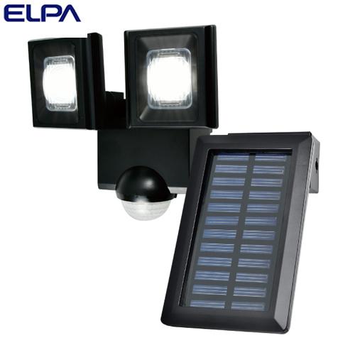 朝日電器 ELPA LEDセンサーライト 2灯 ソーラー発電式 屋外用 ESL-N112SL