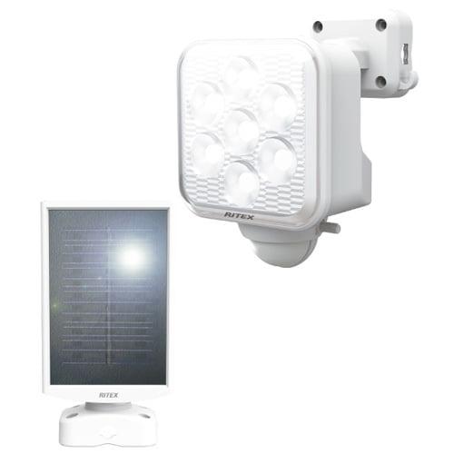 ムサシ LEDライト RITEX フリーアーム式LEDセンサーライト 5W×1灯 ソーラー発電式 屋外用 S-110L