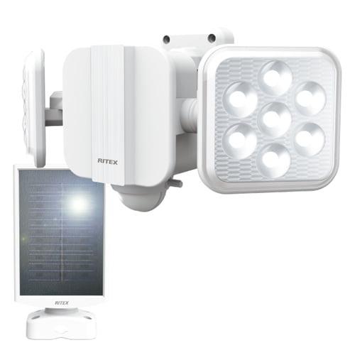 ムサシ LEDライト RITEX フリーアーム式LEDセンサーライト 5W×2灯 ソーラー発電式 屋外用 S-220L
