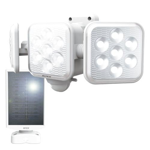 ムサシ LEDライト RITEX フリーアーム式LEDセンサーライト 5W×3灯 ソーラー発電式 屋外用 S-330L