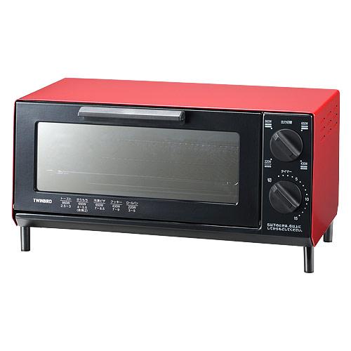 ツインバード工業 ミラーガラス オーブントースター レッド TS-4035R