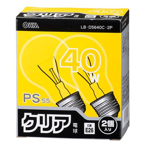 オーム電機 白熱電球 クリア電球 40W形 クリア 2個パック LB-D5640C-2P