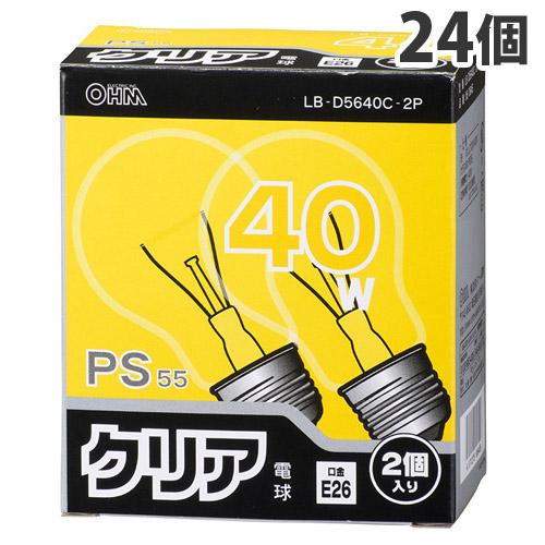 オーム電機 白熱電球 クリア電球 40W形 クリア 2個パック 12個 LB-D5640C-2P