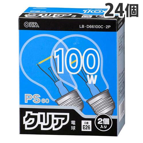 オーム電機 白熱電球 クリア電球 100W形 クリア 2個パック 12個 LB-D66100C-2P