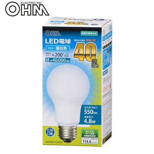 オーム電機 LED電球 E26 40形相当 昼白色 LDA5N-G AG53