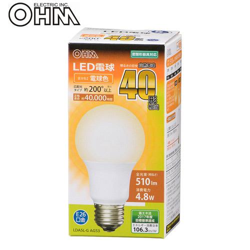 オーム電機 LED電球 E26 40形相当 電球色 LDA5L-G AG53