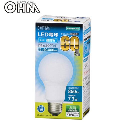 オーム電機 LED電球 E26 60形相当 昼白色 LDA7N-G AG53