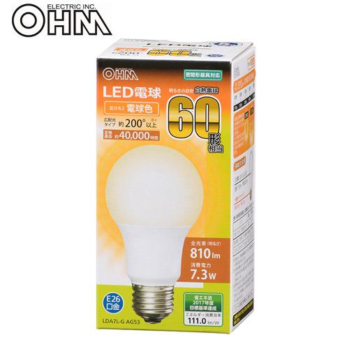 オーム電機 LED電球 E26 60形相当 電球色 LDA7L-G AG53