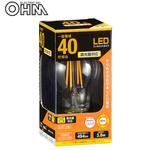 オーム電機 LED電球 フィラメントタイプ クリア E26 40形相当 電球色 LDA4L/D C6