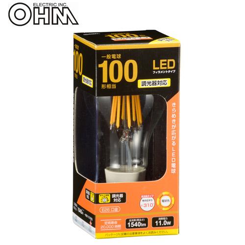 オーム電機 LED電球 フィラメントタイプ クリア E26 100形相当 電球色 LDA12L/D C6