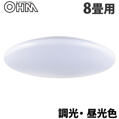 オーム電機 LEDシーリングライト 8畳用 調光 昼光色 LE-Y37D8G-W3
