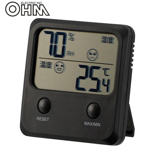 オーム電機 デジタル温湿度計 ブラック TEM-400-K