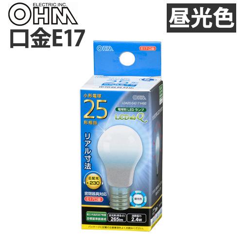 オーム電機 LED電球 ミニクリプトン形 E17 25W 昼光色 LDA2D-G-E17 IH92