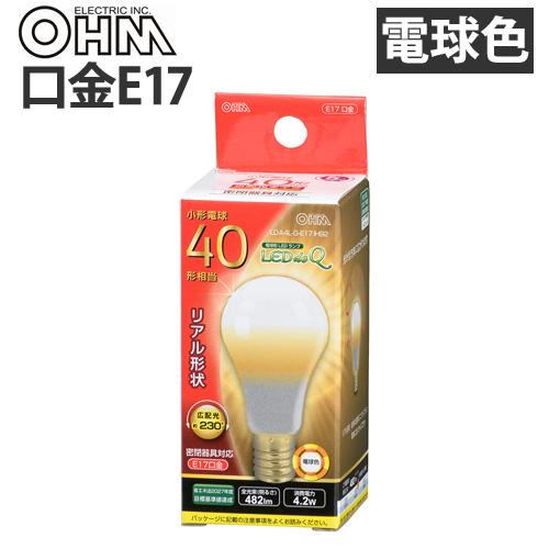 オーム電機 LED電球 ミニクリプトン形 E17 40W 電球色 LDA4L-G-E17 IH92