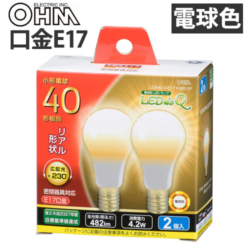 オーム電機 LED電球 ミニクリプトン形 E17 40W 電球色 2個入 LDA4L-G-E17 IH92-2