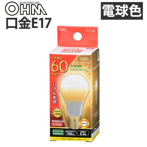 オーム電機 LED電球 ミニクリプトン形 E17 60W 電球色 LDA6L-G-E17 IH92