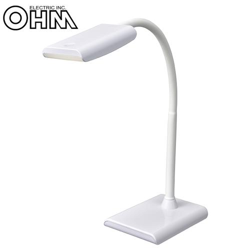 オーム電機 LEDデスクランプ ホワイト DS-LS16P-W