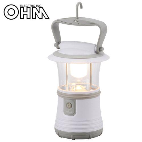 オーム電機 LEDランタン 350lm 電球色 ホワイト LN-40B7-W
