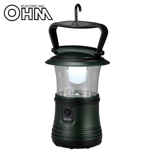 オーム電機 LEDランタン 350lm 昼白色 グリーン LN-40B7-G