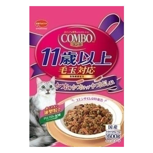 日本ペットフード ミオコンボ 毛玉対応11歳以上 かつお味・かつおチップ・かつおぶし添え 600g