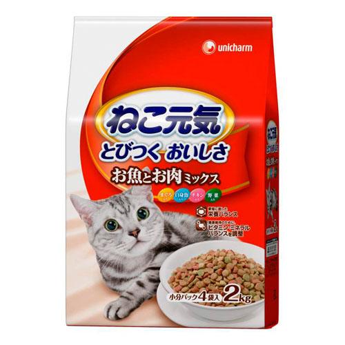 ユニ・チャーム ねこ元気 全猫用 お魚とお肉ミックスまぐろ・白身魚・チキン・野菜入り 2.0kg