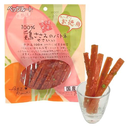ペッツルート 犬用おやつ 素材メモ 鶏ささみのバトネ お徳用 70g