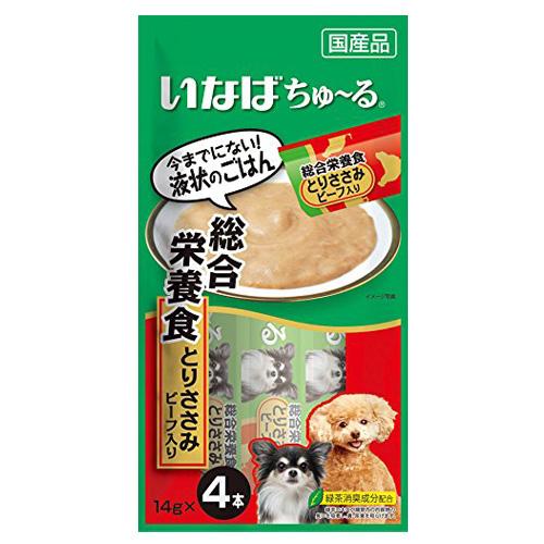 いなば 犬用ちゅ~る 総合栄養食とりささみビーフ入り 14g×4本 D-106
