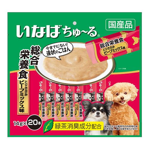 いなば 犬用ちゅ~る 総合栄養食 とりささみ ビーフミックス味 14g×20本 DS-122