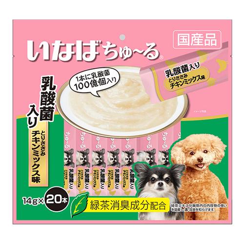 いなば 犬用ちゅ~る 乳酸菌入り とりささみ チキンミックス味 14g×20本 DS-123