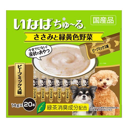 いなば 犬用ちゅ~る ささみと緑黄色野菜 ビーフミックス味 14g×20本 DS-132