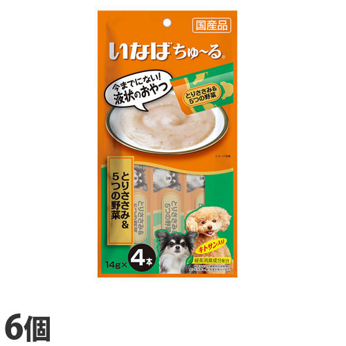 いなば wan ちゅ~る とりささみ&5つの野菜 (14g×4本)×6個 DS-119