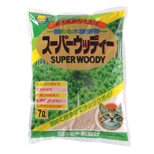 常陸化工 猫砂 スーパーウッディー 固まる木製猫砂 7L