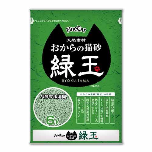 常陸化工 ファインキャット おからの猫砂 緑玉 6L