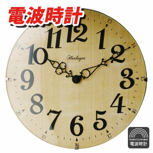 インターフォルム 掛け時計 電波時計 LETRA-レトラ- ナチュラル CL-6867NA