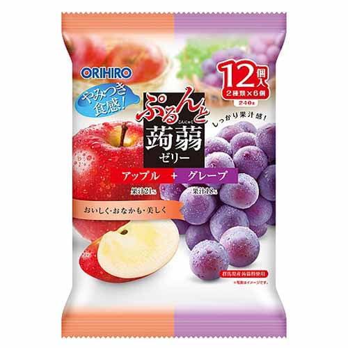 オリヒロ ぷるんと蒟蒻ゼリー パウチタイプ アップル+グレープ 20g 12個
