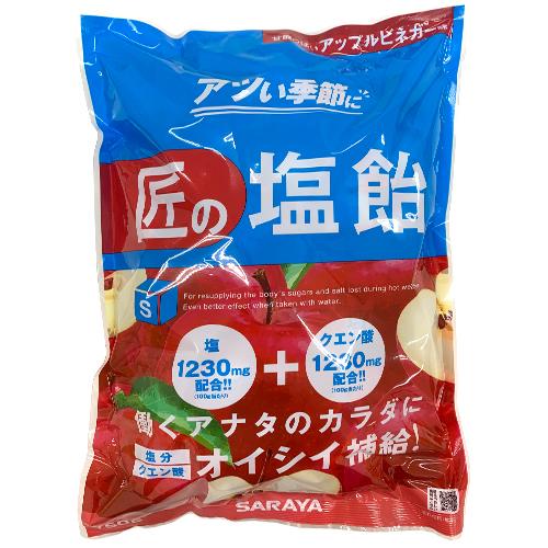 【売切れ御免】【賞味期限:21.04.07以降】サラヤ GAINS 匠の塩飴 アップルビネガー味 750g