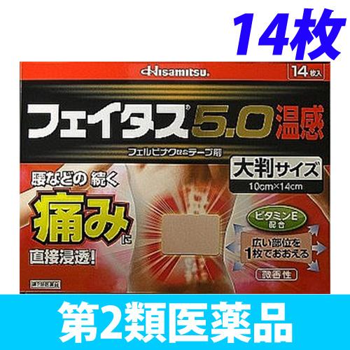【第2類医薬品】久光製薬 フェイタス 5.0温感 大判入り 14枚