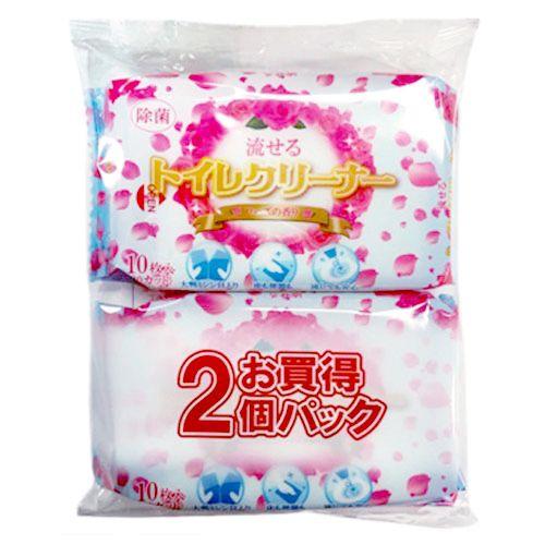 和光製紙 トイレ用掃除シート 流せるトイレクリーナー ローズの香り 厚手 大判 10枚 2個