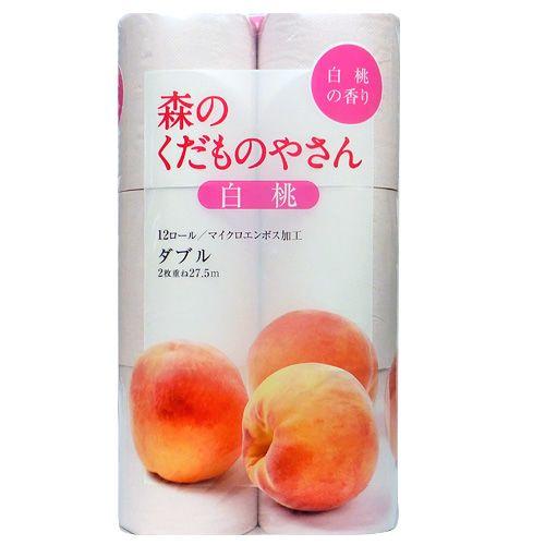 藤枝製紙 トイレットペーパー 森のくだものやさん 香り付き 白桃 ピンク 12ロール