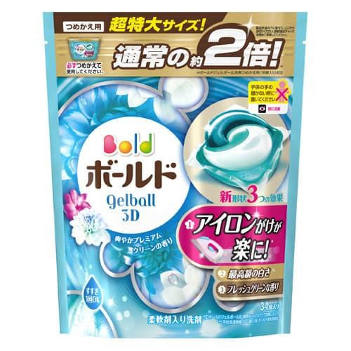 P&G 洗濯洗剤 ボールド ジェルボール3D 爽やかプレミアムクリーンの香り 詰替 超特大サイズ