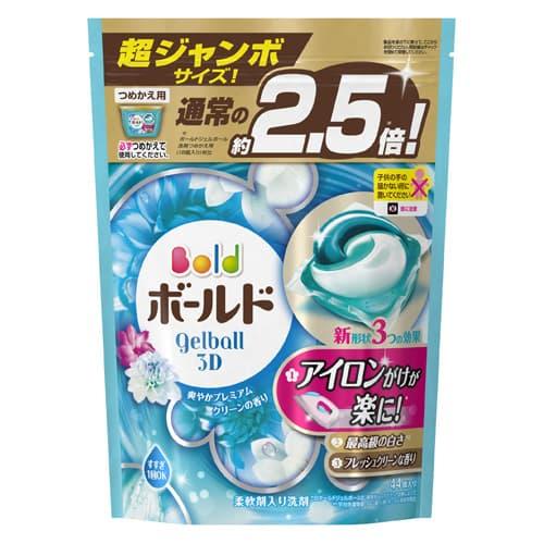 P&G 洗濯洗剤 ボールド ジェルボール3D 爽やかプレミアムクリーンの香り 詰替 超ジャンボサイズ