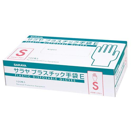 サラヤ 使い捨て手袋 プラスチック手袋E 粉なし Sサイズ 100枚入