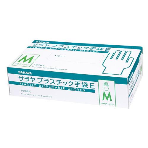 サラヤ 使い捨て手袋 プラスチック手袋E 粉なし Mサイズ 100枚入