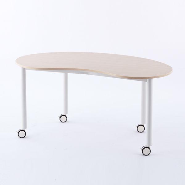 アール・エフ・ヤマカワ キャスターテーブル ホワイト脚 豆型 ナチュラル RFCTT-WL1476BNNA