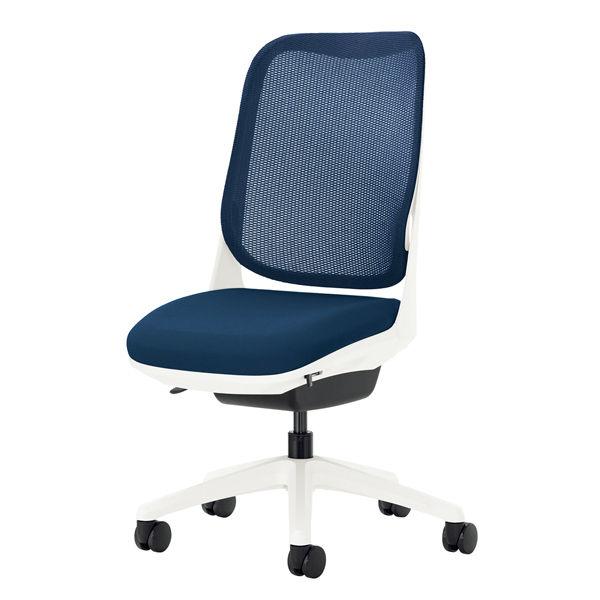 ライオン事務器 オフィスチェアー RIDE アームレスタイプ コズミックブルー 背フレーム色:ホワイト 脚ベース:ホワイト